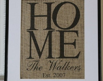 Free US Shipping...Housewarming Personalized Burlap Artwork - Engagements, Weddings, etc.