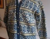 Vintage 50s Wool Cardigan Sweater Norway Ski Snowflake Design