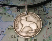 Ireland - Threepence - ( IRISH HARE (RABBIT) - Coin Pendant  - Real Leather Necklace w/Clasp - ( Choose Length ) - Unique Gift - (3-a2)
