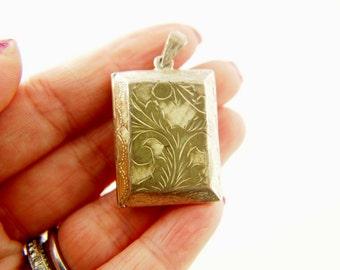SALE: Engraved Locket - Sterling Silver - Vintage