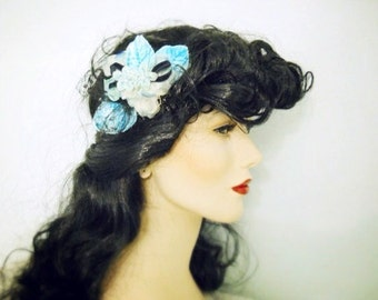 "Blue velvet leaves and black hair comb ""something blue"""