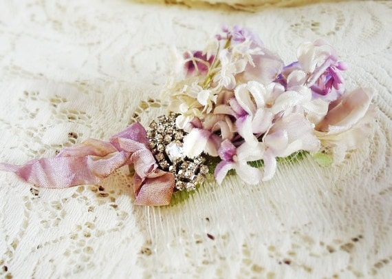 "Lilac millinery flower hair comb wedding, vintage rhinestone, hair accessory  ""Lilac Wine"""
