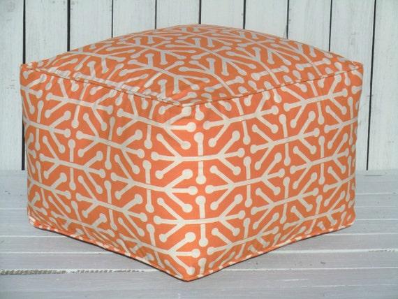 Large Square Ottoman Orange Pouf 20x20x14 Bean Bag By
