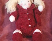4 Piece Hand knit Waldorf Doll Clothes. Hoodie- made of Sheep's Wool