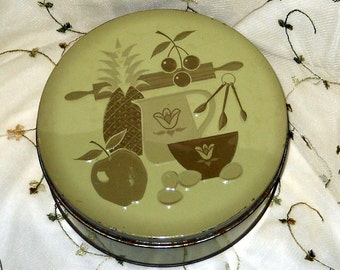 Vintage Tin Avocado Green Cookie Tin