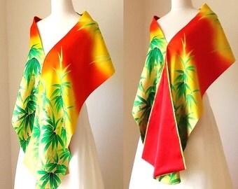Vintage KIMONO Wedding shawl GEISHA bamboo vermillion green yellow gold free size made to order