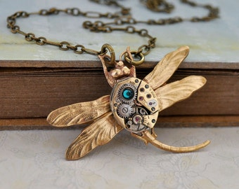 steampunk necklace TIME TRAVELER golden tone brass dragonfly necklace with watch movement