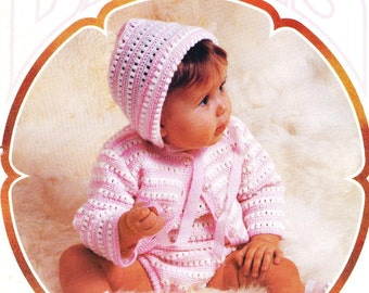 Baby Crochet PATTERN -  Romper, Cardigan, Booties and Cap/Bonnet/Hat - Instant download