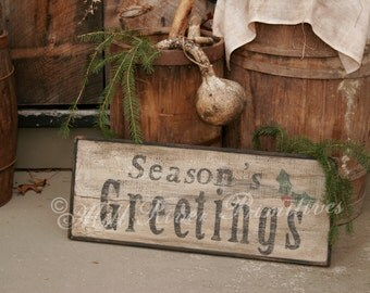 Early Antique Reproduction Primitive Wooden Seasons Greetings Sign