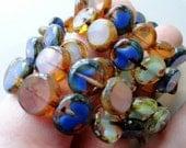 10mm Czech Glass Beads - Coin Mix - Table Cut Coin Beads - Premium Czech Glass - Blue