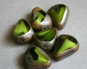 Czech Glass Green Swirl Rock Beads - Table Cut Rock Beads - Chunky Czech Glass Beads - Dark Green - Bead Soup Beads