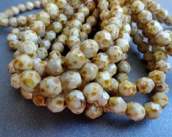 6mm White Brown Picasso Faceted Beads - Czech Glass beads