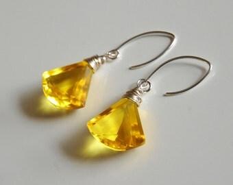 Gorgeous Yellow Quartz Dangle Drop  Earrings -Wedding Jewelry- Bridal Jewelry