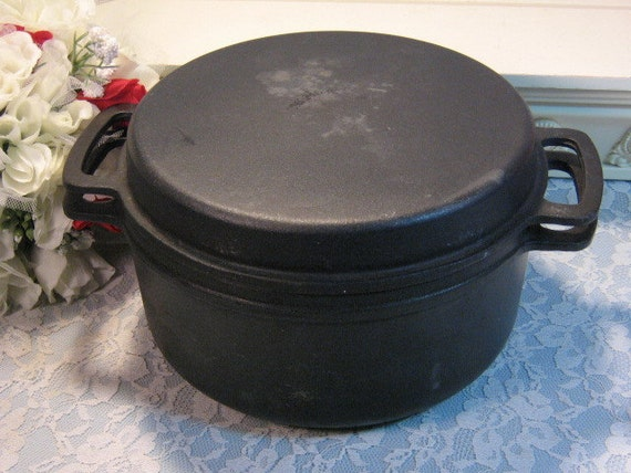 Vintage Lauffer Enamel and Cast Iron Dutch Oven Cookware