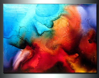 Abstract Art,Huge Abstract Painting, Original Abstract painting, Contemporary Modern Fine Art, Colorful Canvas Art, by Henry Parsinia 48x36