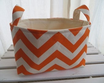 Fabric Organizer, Storage Bin, Container Basket,  Mandarin/natural with natural lining or choose your color lining 10 x 5.5 x 6