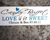 Love is so Sweet Candy Buffet Sign with Bride and Grooms Name and Wedding Date, Wedding Reception Sign, Sweets or Dessert Table.