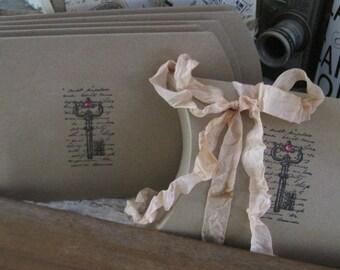 NEW french market french script skeleton key pillow boxes