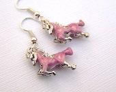 Equestrian Jewelry Horse Earrings Girls Earrings Small Pink Horse Jewelry Equestrian Earrings