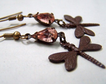 Dragonfly Earrings Vintage Inspired Dragonfly Jewelry Pink Rhinestone Earrings Neo Victorian Jewelry Victorian Earrings