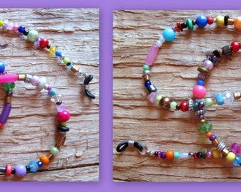 Colorful - Fun - Funky - Eclectic .. CHAOS Beaded Eyeglass Chain Holder