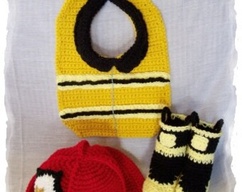 Crochet Pattern For Baby Fireman Hat : Fireman booties Etsy