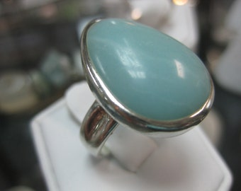 Sterling Silver and Amazonite Ring Size 7