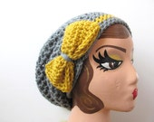 Slouchy Hat with Big Bow in Gray and Mustard