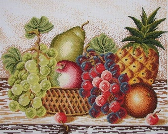 New Finished Completed Cross Stitch - Fruits - 14CT