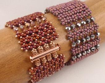 Beading Tutorial for Pondo Cuff  Bracelet, jewelry pattern, beadweaving tutorials, instant download, PDF