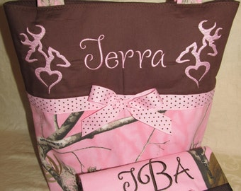 Pink Camo purse and wallet pink and brown realtree camo camouflage heart buck doe deer purse & wallet you choose name