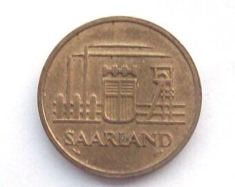 Saarland 1954 50 Franken Coin France Germany