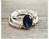 Silver and Blue Crystal Double Wrapped Memory Wire Bracelet - Whatssup Tiger