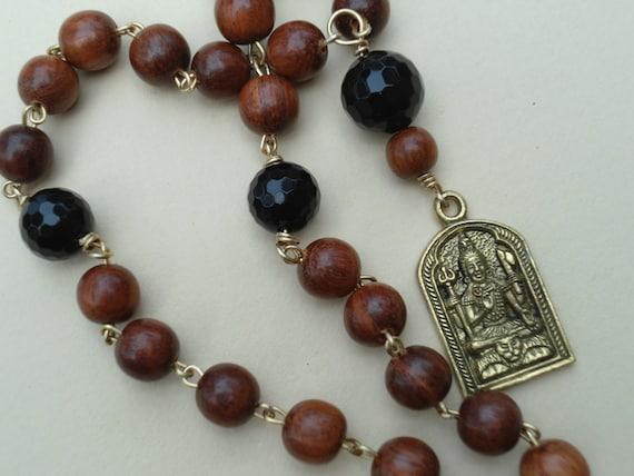 Lord Shiva Japa Mala  Prayer Beads  Pocket Mala  Black Onyx  Hand Mala Yoga Meditation  27 Bead  Wood Rosary Wrapped Pocket Prayer Beads