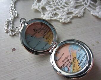 Custom 2 Maps in One Silver Locket