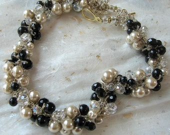 Black Pearl, Champagne, Crystal Wedding Necklace, Hand Knit Cluster Twist,  Original Sereba Designs