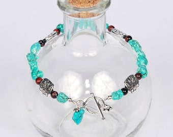 Turquoise Magnesite Nuggets with Red Tiger Eye and Silver Bracelet