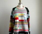 Vintage Knit Sweater - Geometric Test Screen Pattern - Large Sweater