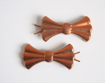 60s Brass Bow Barrettes - Vintage Barrettes