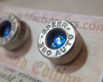 Earrings  -380 Caliber LIMITED EDITION Stud w Sapphire Blue gem Bullet Jewelry Stud style earrings Nickel plated silver