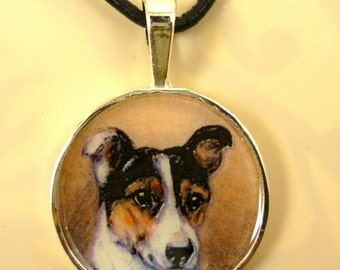 Altered Art Jack Russell Terrier in Round Silver Plated Pendant
