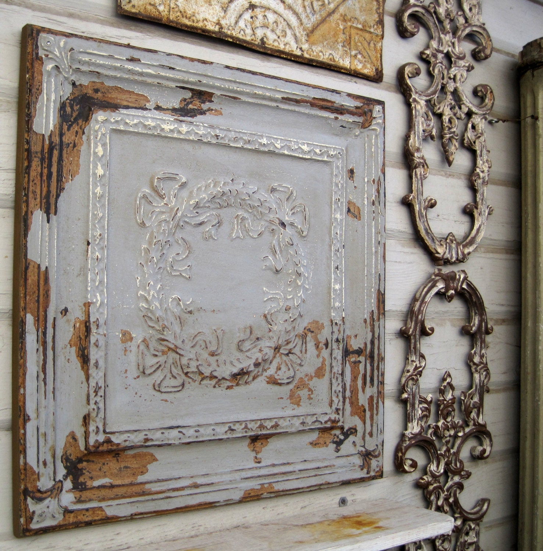 Framed 2x2 Antique Ceiling Tin Tile Original Chippy