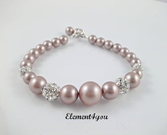 Bridal bracelet, Bridesmaid gift, Pearl Bracelet, Swarovski ivory champagne pearls, Rhinestone ball, Wedding jewelry, Maid of honor gift