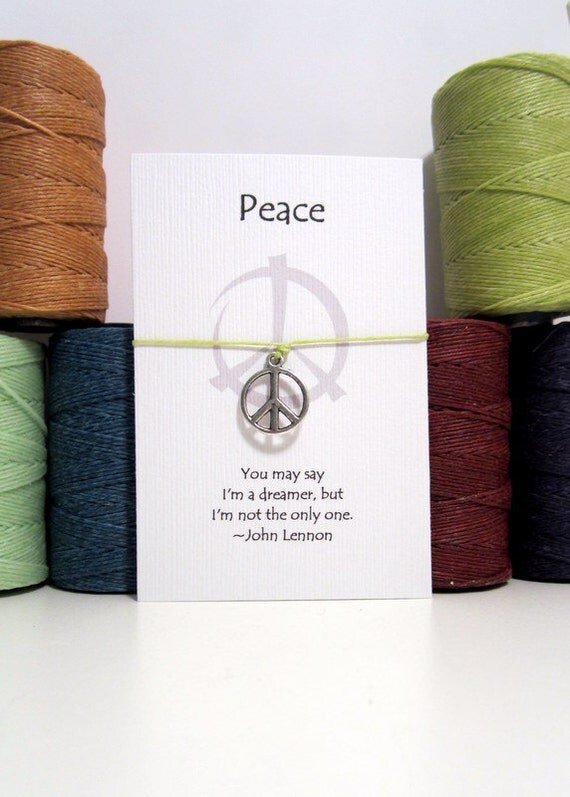 Peace Sign  Wish Bracelet