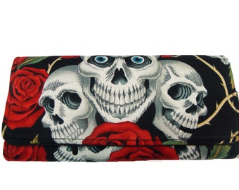 Bifold Woman Wallet Skulls Roses Skelton US Handmade  Black Color  Alexander  Henry  Fabric, NEW,  RARE