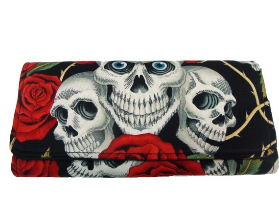 Bifold Woman Wallet Skulls Roses Skelton US Handmade  Black Color  Alexander  Henry  Fabric, NEW,  RARE