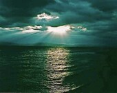 "Dark Moody Green Sunset over Lake Champlain Vermont Sea Waves Beams of Sun Light Clouds Cloudy Sky  Art Photography 5"" x 7"" Photo Print - EclecticForest"