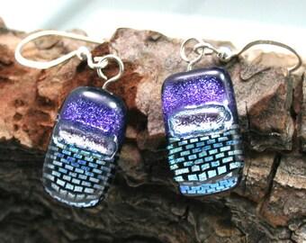 Purple, Silver and Bluish Pattern Mosaic Dichroic Fused Glass Dangle Earrings, Dichroic Earrings, Dichroic Dangles
