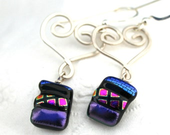 Sterling silver Heart and Mosaic Purple Cobalt and Pink Fused Glass Dangle Earrings, Dichroic Earrings, Silver Wire Earrings