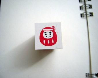 Cute Mini Japanese Wooden Rubber Stamp - Daruma